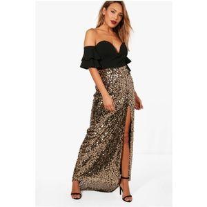 NWT Boohoo 'Naomi' split sequin maxi skirt